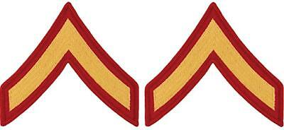 USMC Marine Corps Chevrons yellow on Red E-2 Private First Class PFC MALE