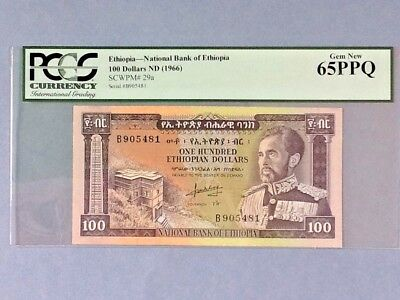 Ethiopia P-29a; 100 Dollars; ND(1966); PCGS Graded 65PPQ