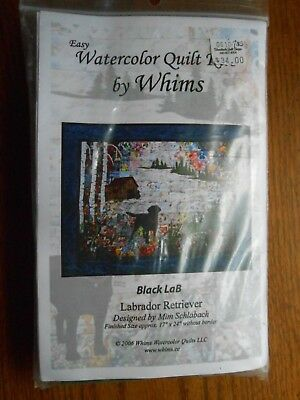 Watercolor Quilt Kit by Whims Black Lab Retriever 17x24 Kit