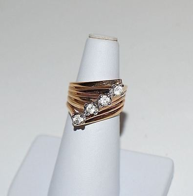 Vintage Ana BeKoach 18K GE Clear CZ Cocktail Cascade Ring Size 6.5