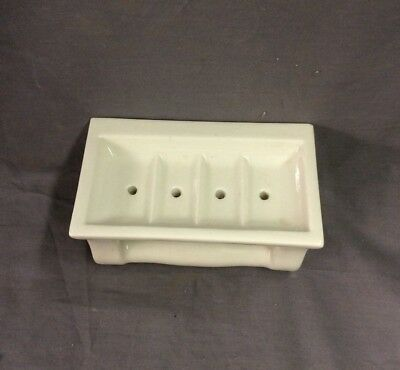 Vtg Ceramic White Porcelain Soap Dish Grab Bar Wall Mount Old Fixture 22-19D