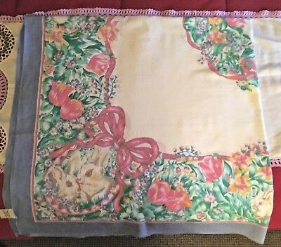 "Vintage Bunny Rabbit Cotton Tablecloth 53""x54"" White / Spring Colors VGC Square"