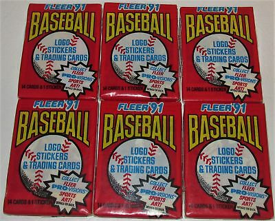 1991 Fleer Baseball Logo Stickers & Trading Cards ~ Six Sealed Wax Packs