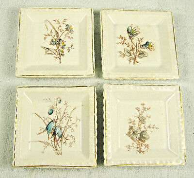 Four Antique Ironstone Transferware Butter Pats