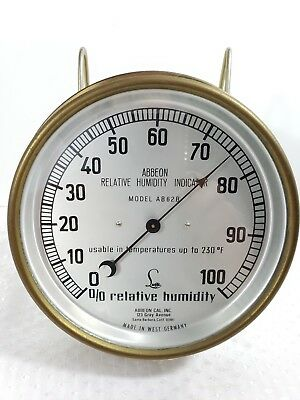 "6"" Brass Abbeon Hygrometer Relative Humidity Gauge Meter Germany Lufft  AB62B"