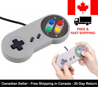 Gray Wired Classic Game Controller For Super Nintendo Entertainment SNES NES
