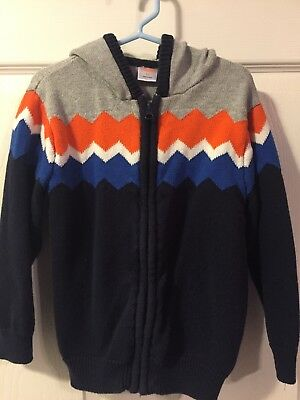 Gymboree Toddler Boy Size 4t Zip Up Sweater With Hood Blue Guc