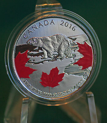 2016 Canada $25 for $25  - True North polar bear silver coin - with red colour
