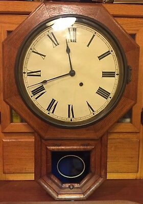 Antique Seth Thomas Time Only 12 Inch Drop Octagon School House Clock