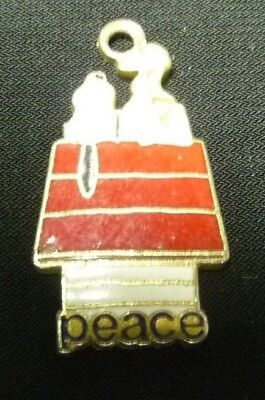 "Peanuts Snoopy & Woodstock PEACE On The Dog House Metal Charm 1"" x 1/2"" x 1/16"""