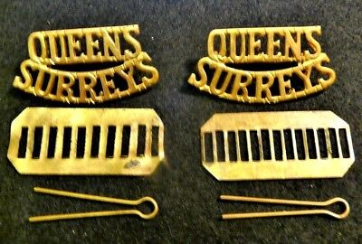 British Army Scarce Pair Of Queens Surreys Shoulder Title Badges Ww1