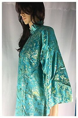Vintage Japan Long Dress Retro Asian Mandarin Oriental Top Aqua Blue Green Small