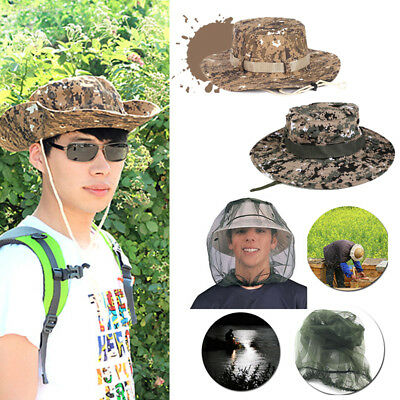 4DD9 57BF Fishing Camo Hat Sun Hat Army Military Jungle /Face Protector Mesh Hat