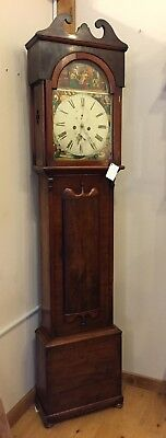 English Tall Case Grandfather Clock All Original 1800's Good Condition Nice Dial