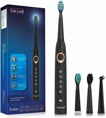 Fairywill 5 Modes Sonic Electric Toothbrush Rechargeable 4 Brush Head Waterproof