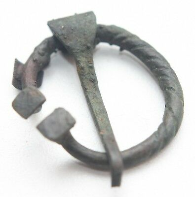 Ancient Old Ornament Bronze Omega Fibula Brooch (ARL55)