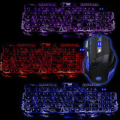 779ec8ac165 3 Colors Cracking LED Backlight Multimedia Keyboard and USB 2.0 5500 DPI  Mouse