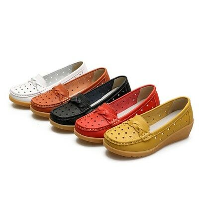 Women Wedge Loafers Hollow Slip Ons Low Top Moccasins Lady Comfort Shoes Walking