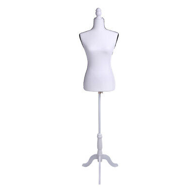 White Female Mannequin Torso Dress Form Display &Tripod Stand Fiberglass