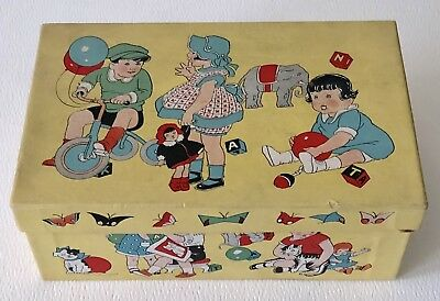 Antique 1940s White Leather Baby Shoes Colorful Children Playing Doll Blocks Box