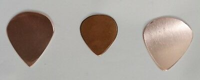 A Set of 6 Copper Guitar Picks ( 2 of Each Type ), 1mm, 99.9% Pure Copper