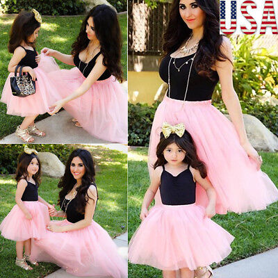 22905917c0 Fashion Women Mother Daughter Matching Dresses Summer Girl Dress Clothes  Sets US