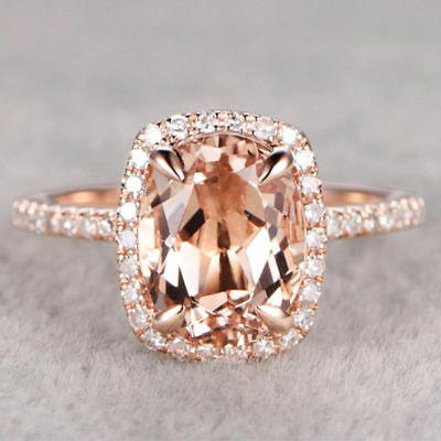 Luxury Champagne Crystal Rose Gold Filled Wedding Engagement Ring Size 6-10