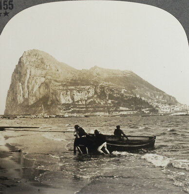Keystone Stereoview Boat at The Rock of Gibraltar, SPAIN from 1930's T400 Set #B