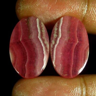 39.05 CT 100% Natural Rhodochrosite Pair 15 x 25 mm Argentina Untreated Cabochon