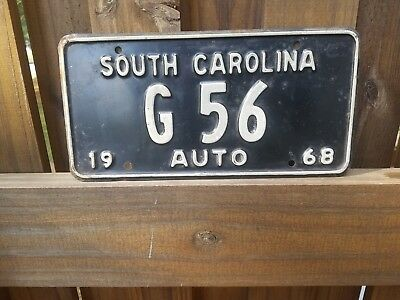 1968 South Carolina License Plate Low Number G 56 double digit Auto Marker Tag