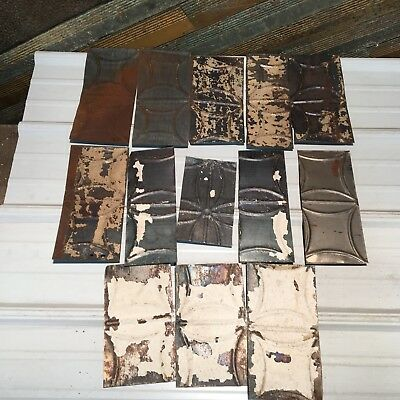 """13pc Craft Lot 11"""" by 5.5""""- Antique Ceiling Tin Metal Reclaimed Salvage Art"""