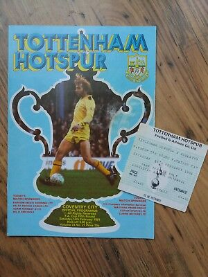 1981 FA Cup 5th Round Programme & Ticket - Tottenham (Cup Winners) vs Coventry C
