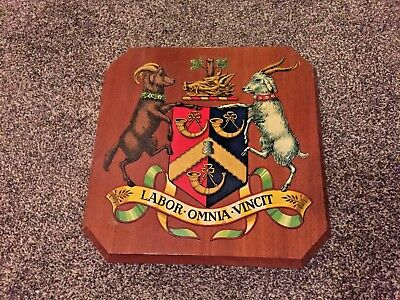 Vintage Large Heavy Bradford Coat of Arms Hardwood Plaque Pro Labor Omnia Vincit