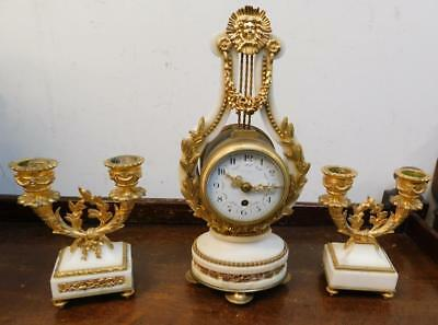mini french white marble and ormolu lyre shaped clock garniture