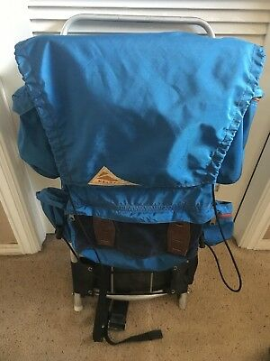 Vintage Kelty External Frame Backpack Blue Size M With Rain Cover