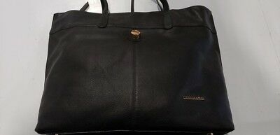 STELLA   MAX Leather Tote Hand Bag Purse BLACK Top Zip -  32.95 ... 2548d991abee3