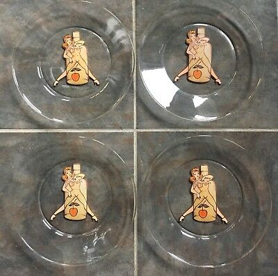 Sailor Jerry Spiced Rum Nude Nudie Girl Pinup Risque Glass Dish Plate Lot Tattoo
