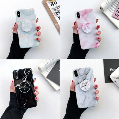 Marble Case With Pop Up Holder for iPhone X/XS XR MAX 6/7/8 Plus Socket Relief