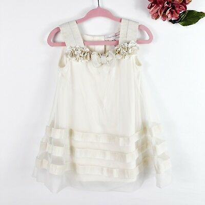 6ae9ac789d1 CATHERINE MALANDRINO BABY Girl Cream Beige Tulle Sleeveless Formal Dress  9-12M
