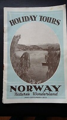 1933 Norway Holiday Tours Vintage Guide Sailings Hotels Passenger Ships Maps