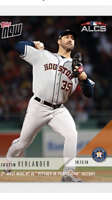2018 TOPPS NOW ALCS CARD GAME #1 ASTROS JUSTIN VERLANDER #881 2nd MOST WINS