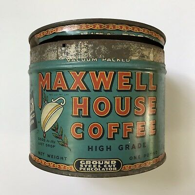 Vintage Maxwell House Coffee Tin Metal Can Advertisement WITH LID! Vita-Fresh