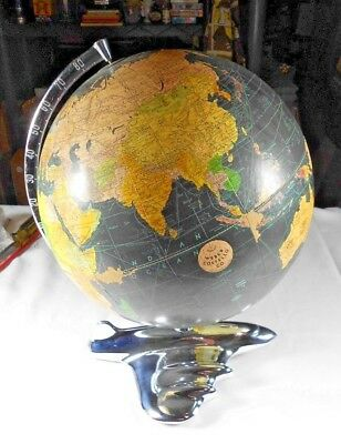"Vtg Weber Costello Peerless 12"" black oceans globe airliner base 1950's MCM"