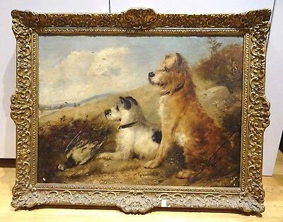Large 19th Century English Terrier Dogs In A Landscape Antique George ARMFIELD