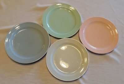 Vintage LuRay Pastels Salad Plates Pink Gray Blue Green Set of 4