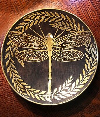 Exceptionally rare Erhard Sohne Dragonfly tray c. 1905 inlaid brass into wood