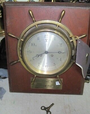 Vintage Ships Clock By Salem 8 Day Jeweled , On Factory Backboard