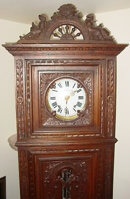 Fine Late 19th century  oak carved French tall case clock----15518