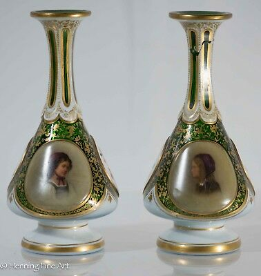 Pair of Antique Bohemian Glass Overlay Moser Vases w/ Hand Painted Portraits!