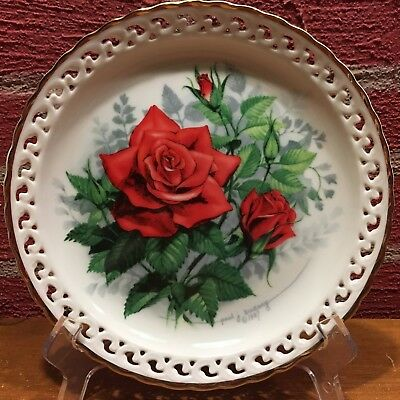 """Plate - The Hamilton Collection """"American Spirit"""" Rose Paul Sweany 1988"""